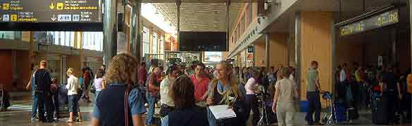 Photograph Departure Checking          in Hall at Reina Sofia airport Tenerife South, Canary Islands, Spain